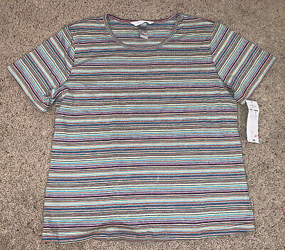NWT New Women's Napa Valley Multicolored Striped T Shirt Top Size L Large