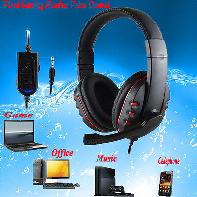 Gaming Headset Voice Control Wired HI-FI Sound Earphone For PS4 PC Cell Phone