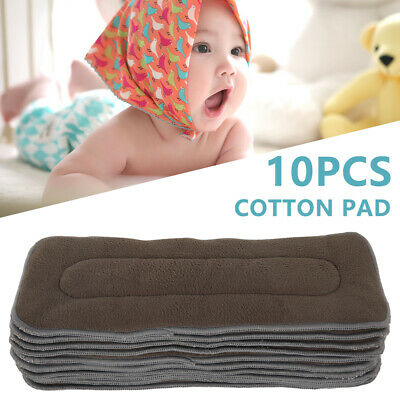 10pcs Charcoal Bamboo Nappy Inserts Liners Baby Cloth Diapers 4 Layers Reusable