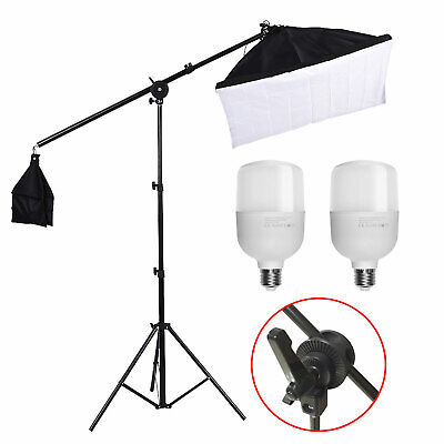 50W LED Photography Studio Softbox Continuous Lighting Kit +Boom Arm Stand