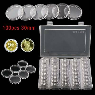 100Pc 30mm Coin Case Capsules Holder Clear Plastic Round Storage Box Gift Set UK