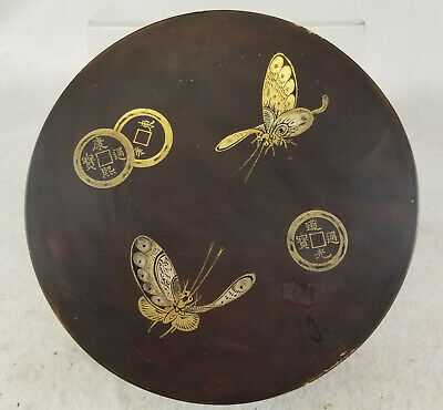 Antique Vintage South East Asian Vietnamese Lacquer Box Coins Butterfly