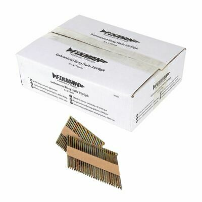 Fixman 689272 3.1 x 75mm Galvanised Ring Nails 2500pk