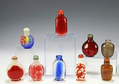 Fine Lot of Antique Chinese Glass and Stone Snuff Bottles