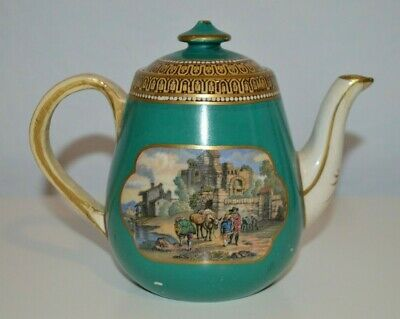 Antique 18th century or early 19th cent. teapot, painted after transfer