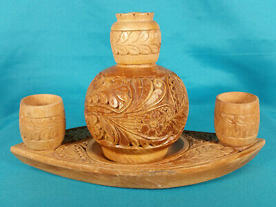 """Vintage 4-Piece Hand Carved Wood Cordial Decanter Set Hungary 9"""" 1960s Signed"""