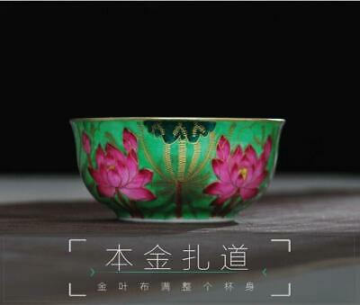 China qianlong marked Porcelain ceramic colour enamels hand painting Lotus cup