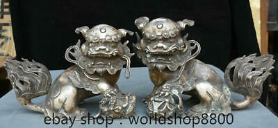 """10.4"""" Old Chinese Silver Palace Feng Shui Foo Dog Lion Ball Luck Statue Pair"""