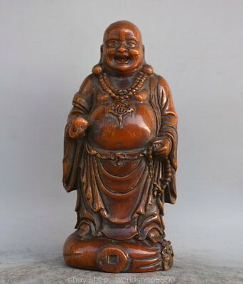 "8.4"" Antique Chinese Ox Horn Carved Happy Laugh Maitreya Buddha Money Bag Statue"