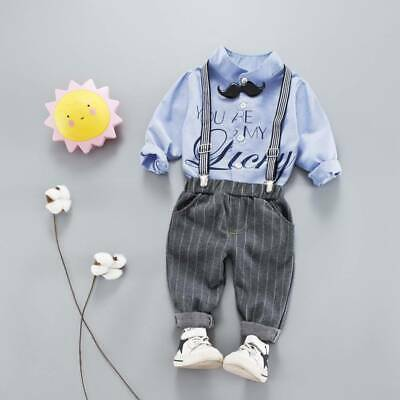 UK Toddler Baby Kids Boys Formal Tops Shirt Suspender Pants Outfits Set Clothes