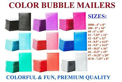 Color Poly Bubble Mailers Padded Envelopes Plastic Protective Packaging Couture