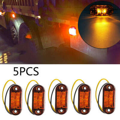 5PCS Amber 2 LED Light Oval Clearance Trailer Car Truck Side Marker Tail Lamp