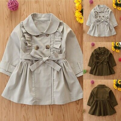 Toddler Kids Baby Girls Fashion Trench Coat Windbreaker Jacket Outwear Tops UK