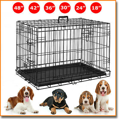 Home Pet Cage Dog Cat Puppy Training Folding Crate Vet Animal Transport Carrier
