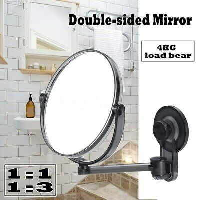 Suction Cup Wall Mounted Adjustable MakeUp Shaving Round Bathroom Mirror Shower