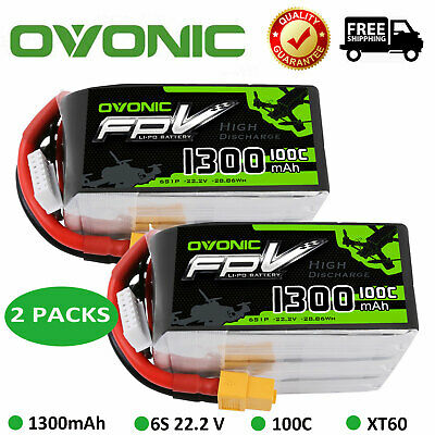2X Ovonic 100C 1300mAh 22.2V 6S Lipo Battery for FPV Drone RC Helicopter