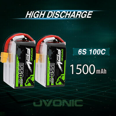 2X OVONIC 22.2V 1550mAh 6S 100C Lipo Battery With XT60 Plug for RC Car FPV Drone