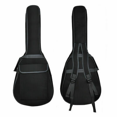 "41"" Double Straps Padded Acoustic Classic Electric Guitar Gig Bag Backpack Black"