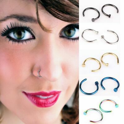 8mm Unisex Hoop Fake Clip on Body Jewelry Nose Ring Nostril Hoop Non Piercing