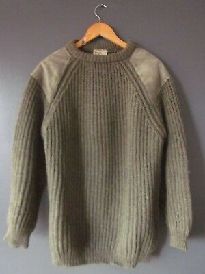 VTG 60s GLENSHEES WOOLLENS JUMPER XL LEATHER SHOULDERS HEAVYWEIGHT HAND-KNITTED