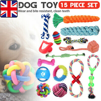 15x Dog Puppy Toys Set Xmas Christmas Bundle and Teeth Cleaning Cotton Rope Toys