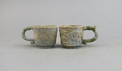 old Han Dy. Chinese green jade carved Chi-dragon figure pair cup