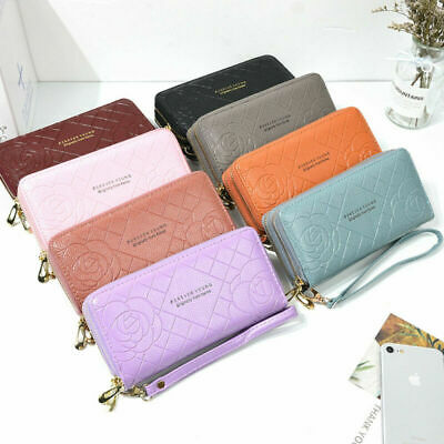 Long Large-Capacity Zipper Rose Stripe Leather Clutch Double-Layer Mobile Wallet