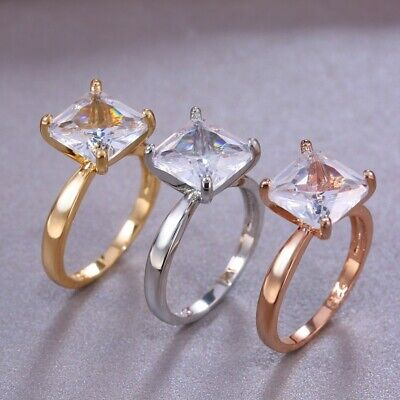 Fashion 925 Silver,Gold,Rose Gold Wedding Rings White Sapphire Ring Size 6-10