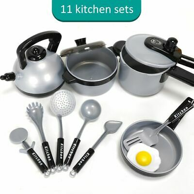 11Pcs Childrens Toy Kitchen Cooking Utensils Pots Pans Accessories Kids Playset
