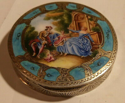 Quality Enamel Silver Chased Compact Courting Scene 800 Italy Vintage Antique