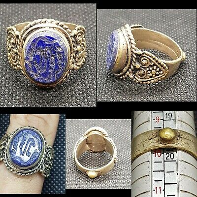 UNIQUE Silver Antique Ring With Lapis Lazuli Stone Persian Blessing Calligraphy