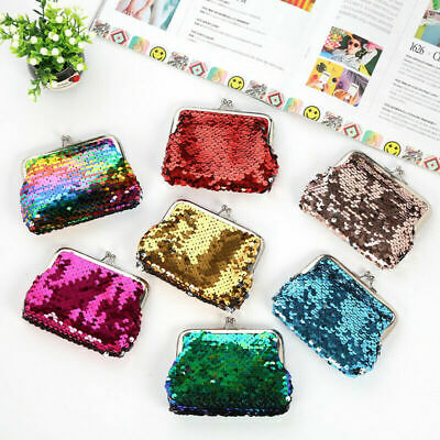 Reversible Sequin Mini Coin Purse Clutch Bag Wallet Kid Girl Birthday Gift