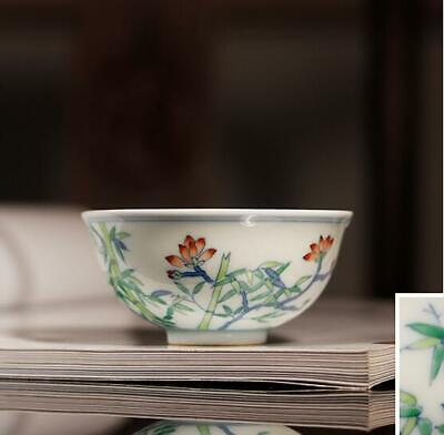 Chinese chenghua marked Porcelain ceramic doucai Hand painting bamboo Tea cup