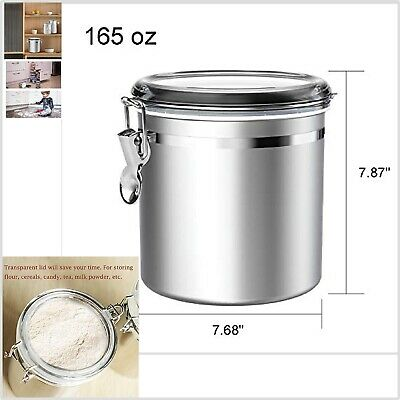 Kitchen Canister Airtight For Coffee Tea Sugar Cookie Clear Lid Jar Stainless St