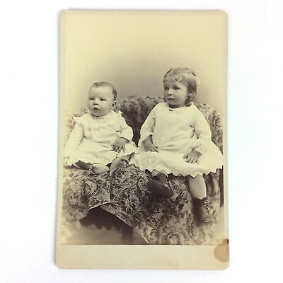 Toddler Girl & Baby Antique Cabinet Card Photo Studio Portrait 4x5.5