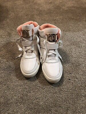 Girls White Hightop Trainers With A Slight Hidden Wedge Uk3 River Island