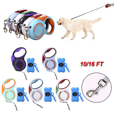 10/16FT Dog Leash Retractable Walking Collar Pet Running Automatic Traction Rope