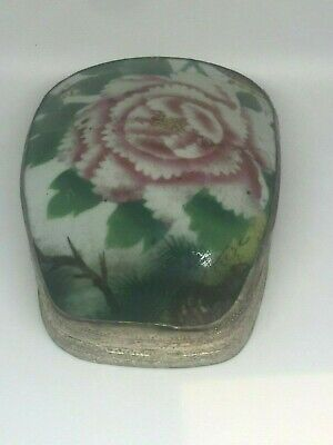 Antique Chinese Porcelain Shard Silver Plated Box with Peony