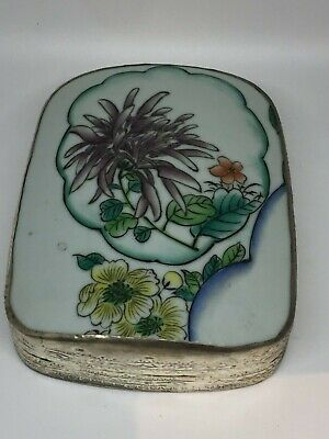 Antique Chinese Porcelain Shard Silver Plated Box w Purple Orange Yellow Flowers