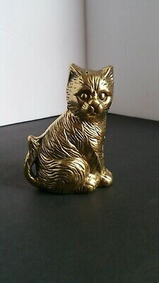 Vintage Antique Hefty Solid Brass Sitting Kitty Cat Statue Figure paper weight