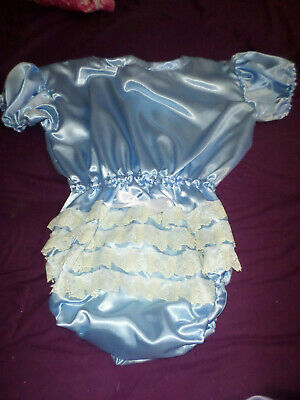 "ADULT BABY SISSY all-in-one BLUE SATIN ROMPER SUIT 44"" CHEST SLEEPSUIT LACE BACK"