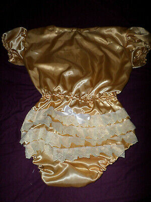 "ADULT BABY SISSY all-in-one GOLD SATIN ROMPER SUIT 48"" CHEST SLEEPSUIT LACE BACK"
