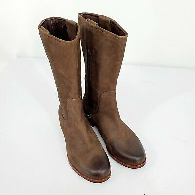 Ugg Annisa Chocolate Brown Burnished Suede Leather Calf Zip Riding Boots Size 5