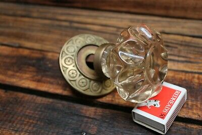 Antique Victoria Glass Brass Front Door Centre Knob Handle Vintage Victorian