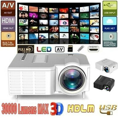 Mini LED LCD Projector Multimedia HomeTheater Cinema HD 1080P HDMI VGA AV USB SD