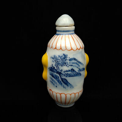 Chinese Exquisite Handmade Mountain&tree pattern porcelain snuff bottle  S162