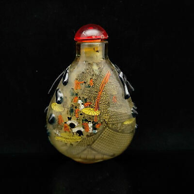 Chinese Exquisite Handmade Qingming Shanghe Map glass snuff bottle