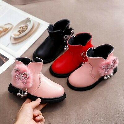 Toddler Infant Kids Zip Baby Princess Fashion Warm Shoes Crystal Leather Boots