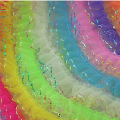 New 5 yards 2-Layer 50mm organza Lace Gathered grid Pleated sequined Trim #62