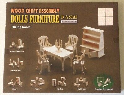 Wood Craft Dolls Furniture Assembly Dining Room in 1:12 scale
